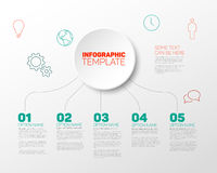 Vector Infographic report template. For six steps, made from red and teal lines with big circle and icons Stock Photos