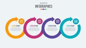 Vector infographic Schablone der Zeitachse mit 4 Schritten mit Kreispfeil Stockfotos