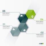 Vector infographic Schablone mit 4 Hexagonen für Darstellungen Lizenzfreie Stockfotografie