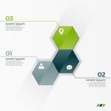Vector infographic Schablone mit 3 Hexagonen für Darstellungen Stockfotos