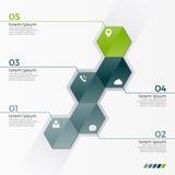 Vector infographic Schablone mit 5 Hexagonen für Darstellungen Lizenzfreies Stockbild