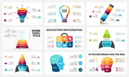 Vector infographic set, light bulb idea, education diagram, knowledge chart, startup rocket, travel bag, human head Royalty Free Stock Photography