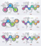 Vector infographic set of templates with gears and world map Royalty Free Stock Photography