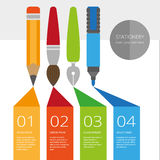 Vector infographic with stationary set in flat style. Poster or landing page design. EPS 8 Royalty Free Stock Photo