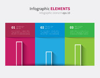 Vector infographic table with graph. 3 color table with shadow and graph with 3 options Royalty Free Stock Images