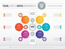 Vector infographic of technology or education process. Business. Concept with 6 options. Web Template of a circle diagram or presentation. Part of the report Stock Photos