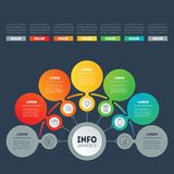 Vector infographic of technology or education process. Business. Concept with 5 options. Web Template of a info chart, diagram or presentation with icons Stock Images