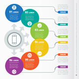 Vector infographic of technology or education process with six s Stock Photo