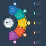 Vector infographic of technology or education process with 5 ste. Ps. Web Template of a circle info chart, diagram or presentation on dark background. Business Stock Images