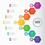 Vector infographic of technology or education process with 7 ste. Ps. Annual report. Business presentation concept or infographics with 7 options. Web Template Royalty Free Stock Photos