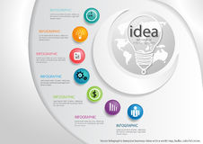 Vector Infographic template business ideas with a world map, bulbs, colorful circles. Royalty Free Stock Images
