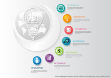 Vector Infographic template business ideas with a world map, bulbs, colorful circles. Royalty Free Stock Photography