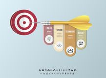 Vector infographic template. Business target marketing dart idea for presentation, graph, diagram. Options, parts, steps Royalty Free Stock Photos