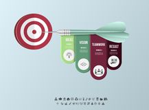 Vector infographic template. Business target marketing dart idea for presentation, graph, diagram. Options, parts, steps Royalty Free Stock Images