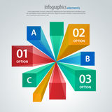 Vector infographic template, cubes and rays. Vector infographic template. Option banners Stock Photography