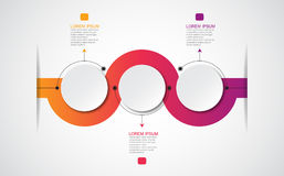 Vector infographic template with 3D paper label, integrated circles. Can be used for workflow layout, diagram, business step optio Stock Photos