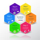Vector infographic template. Template for diagram, graph, presentation and chart. Business concept with 6 options, parts, steps or processes. Vector infographic Royalty Free Stock Photos