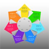 Vector infographic template. Template for diagram, graph, presentation and chart with 7 options, parts, steps or processes. Vector infographic royalty free illustration
