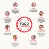 Food allergies template vector illustration