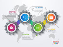 Vector infographic template with gears and world map Royalty Free Stock Images