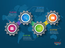 Vector infographic template with gears and world map Royalty Free Stock Photo