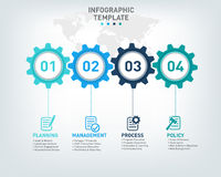 Vector infographic template with gears and world map Royalty Free Stock Image