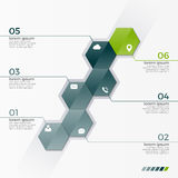 Vector infographic template with 6 hexagons for presentations Stock Images