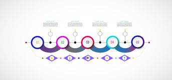 Vector infographic template with number 5 step Royalty Free Stock Images