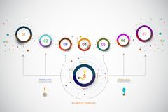 Vector infographic template with number 7 step. Vector infographic template with number 7 step, integrated circles. Business concept with options. For content Stock Photos