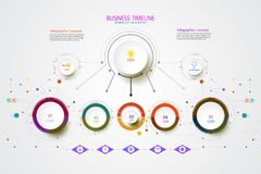 Vector infographic timeline technology template with 3 step. Vector infographic timeline technology template with 3 step, integrated circles. Business concept Royalty Free Stock Photography