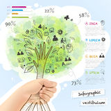 Vector infographic with a tree grabbed by hand Royalty Free Stock Photos
