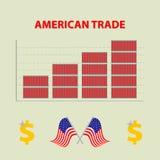 Vector infographic wachsenden amerikanischen Import-export - Informationsdiagramm im flachen Design mit Ikone von dolar und kennz lizenzfreie abbildung