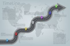 Vector infographic world map, road timeline layout. Vector company corporate car road curved arrow shape world map milestone, timeline business presentation stock illustration