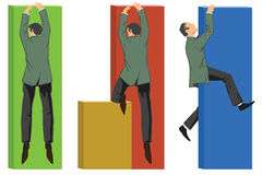 Vector infographics. Businessman climbing the chart Stock Photography