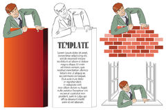 Vector infographics. Businessman climbs over obstacle Stock Photo