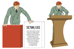 Vector infographics. Businessman speaking on the platform and gr Royalty Free Stock Photos