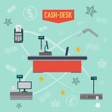 Vector Infographics checkout area in supermarket. Supermarket Vector Infographics checkout area. With offices around the individual elements. Payment by card vector illustration