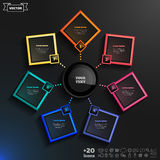 Vector infographics design with colorful rhombs. Vector infographics design with colorful rhombs on the black background. Business concept with 7 options, parts Stock Images