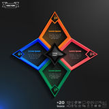 Vector infographics design with colorful rhombs. Vector infographics design with colorful rhombs on the black background. Business concept with 4 options, parts Vector Illustration