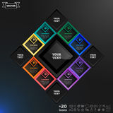 Vector infographics design with colorful rhombs. Vector infographics design with colorful rhombs on the black background. Business concept with 8 options, parts Stock Illustration
