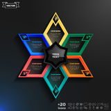 Vector infographics design with colorful rhombs. Vector infographics design with colorful rhombs on the black background. Business concept with 6 options, parts Royalty Free Illustration