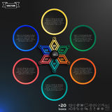 Vector infographics design with colorful rhombs. Vector infographics design with colorful rhombs on the black background. Business concept with 6 options, parts Royalty Free Stock Image