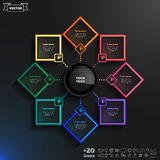 Vector infographics design with colorful rhombs. Vector infographics design with colorful rhombs on the black background. Business concept with 8 options, parts Royalty Free Stock Image