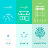 Vector infographics design elements and icons in linear style Royalty Free Stock Photo