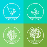 Vector infographics design elements and icons in linear style Royalty Free Stock Photography
