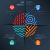 Vector infographics design. Four elements abstract illustration and alternative energy icons on black background. Stock Photography