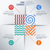 Vector infographics design. Four elements abstract illustration and alternative energy icons on white background.  Stock Photo