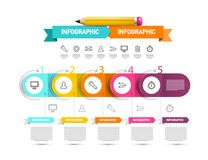 Vector Infographics Design with Icons and Paper Labels and Pencil. Infographic Template. Vector Infographics Design with Icons and Paper Labels and Pencil royalty free illustration