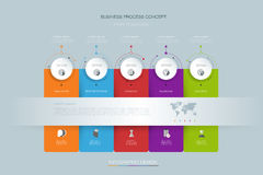 Vector infographics design template with 3D paper label Royalty Free Stock Photos