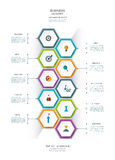 Vector infographics design template with 3D paper label. Vector infographics timeline design template with 3D paper lable, integrated hexagon for 10 steps and Royalty Free Stock Photo